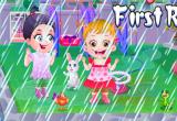 لعبة بيبي هازل تحت الامطار