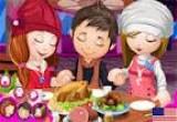 لعبة تلبيس الاطفال الثلاثة في المطعم
