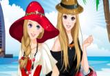 لعبة تلبيس باربي وصديقتها على شاطئ البحر
